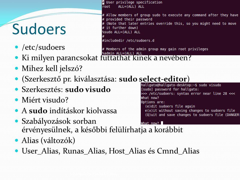 Sudoers /etc/sudoers Ki milyen parancsokat futtathat kinek a nevében