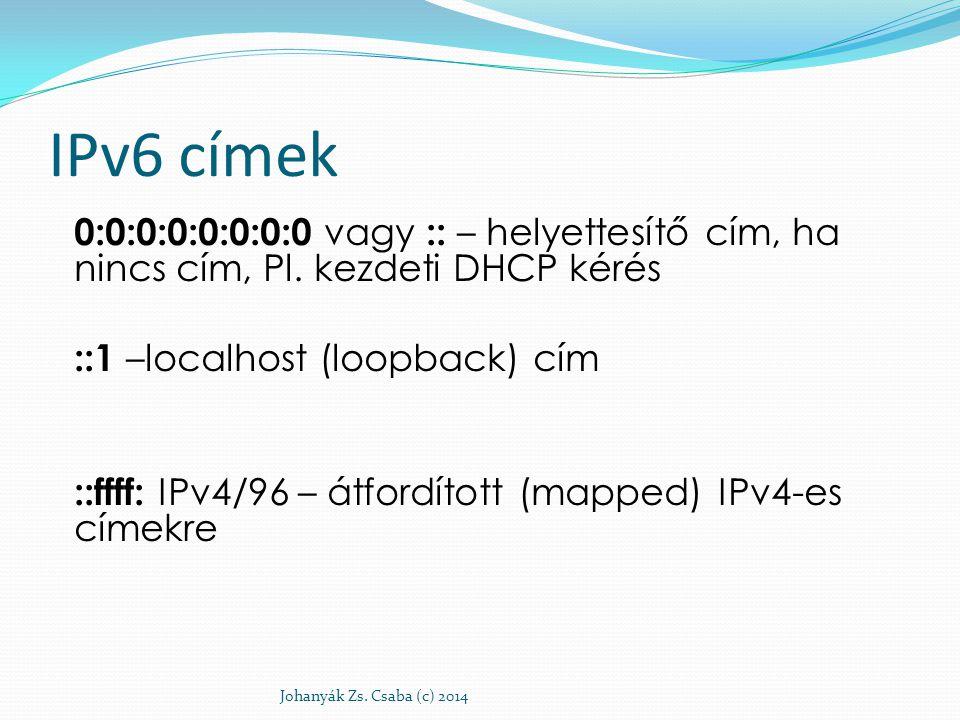 IPv6 címek 0:0:0:0:0:0:0:0 vagy :: – helyettesítő cím, ha nincs cím, Pl. kezdeti DHCP kérés. ::1 –localhost (loopback) cím.