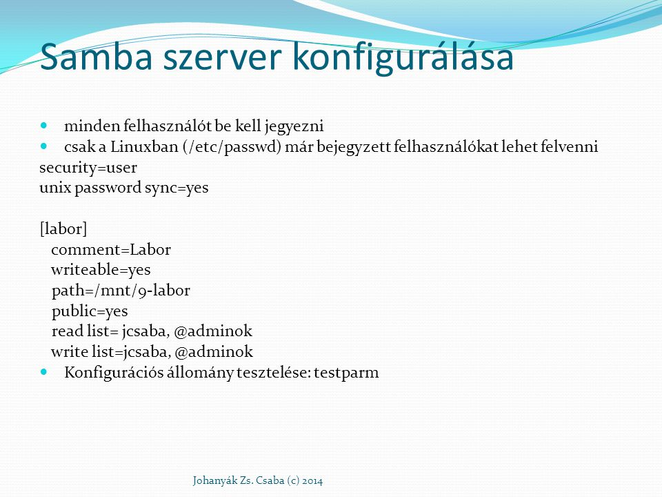 Samba szerver konfigurálása