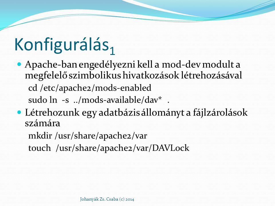 Konfigurálás1 Apache-ban engedélyezni kell a mod-dev modult a megfelelő szimbolikus hivatkozások létrehozásával.