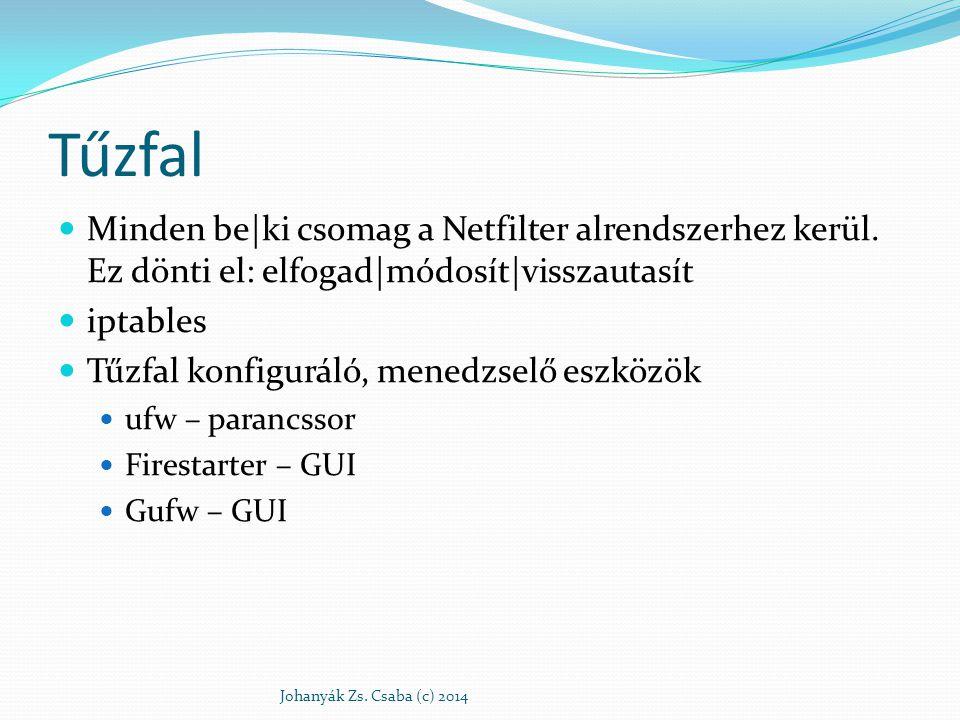 Tűzfal Minden be|ki csomag a Netfilter alrendszerhez kerül. Ez dönti el: elfogad|módosít|visszautasít.