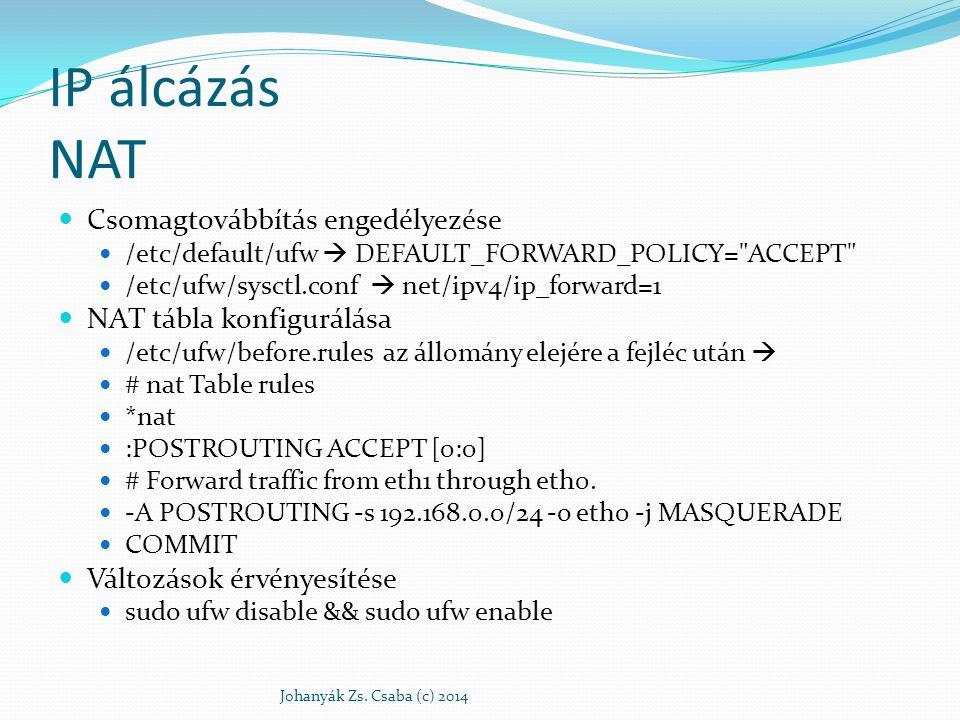 IP álcázás NAT Csomagtovábbítás engedélyezése NAT tábla konfigurálása