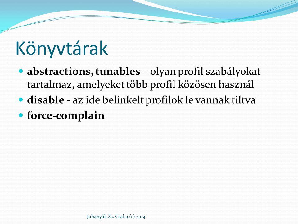 Könyvtárak abstractions, tunables – olyan profil szabályokat tartalmaz, amelyeket több profil közösen használ.