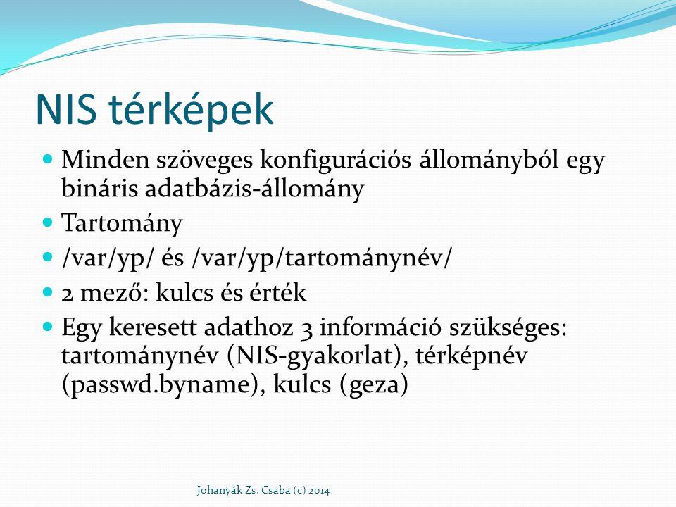 NIS térképek Minden szöveges konfigurációs állományból egy bináris adatbázis-állomány. Tartomány. /var/yp/ és /var/yp/tartománynév/