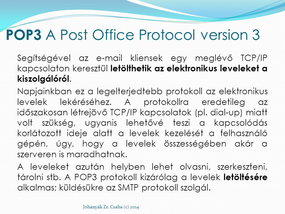 POP3 A Post Office Protocol version 3