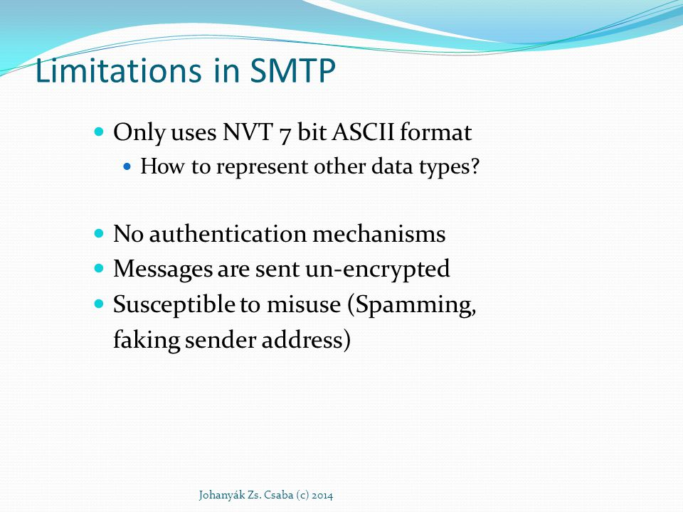 Limitations in SMTP Only uses NVT 7 bit ASCII format