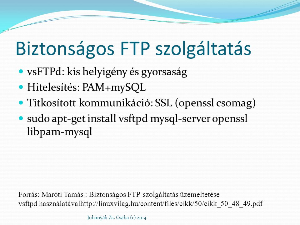 Biztonságos FTP szolgáltatás