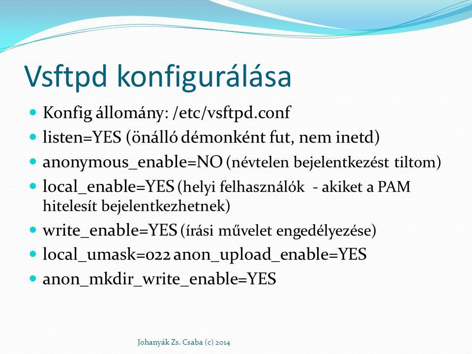 Vsftpd konfigurálása Konfig állomány: /etc/vsftpd.conf
