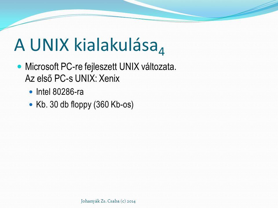 A UNIX kialakulása4 Microsoft PC-re fejleszett UNIX változata. Az első PC-s UNIX: Xenix. Intel 80286-ra.
