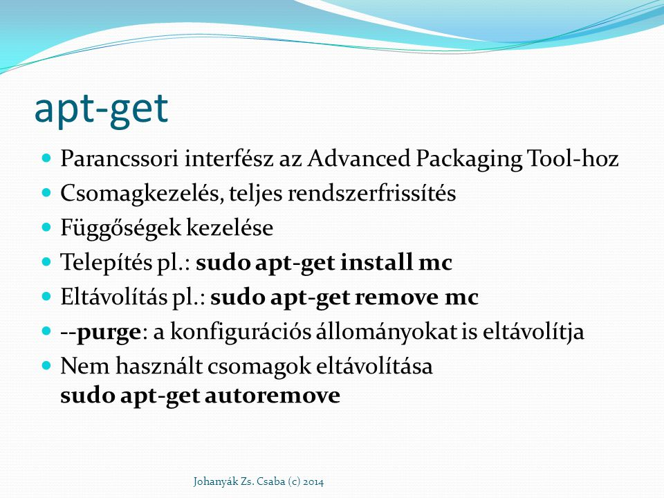 apt-get Parancssori interfész az Advanced Packaging Tool-hoz