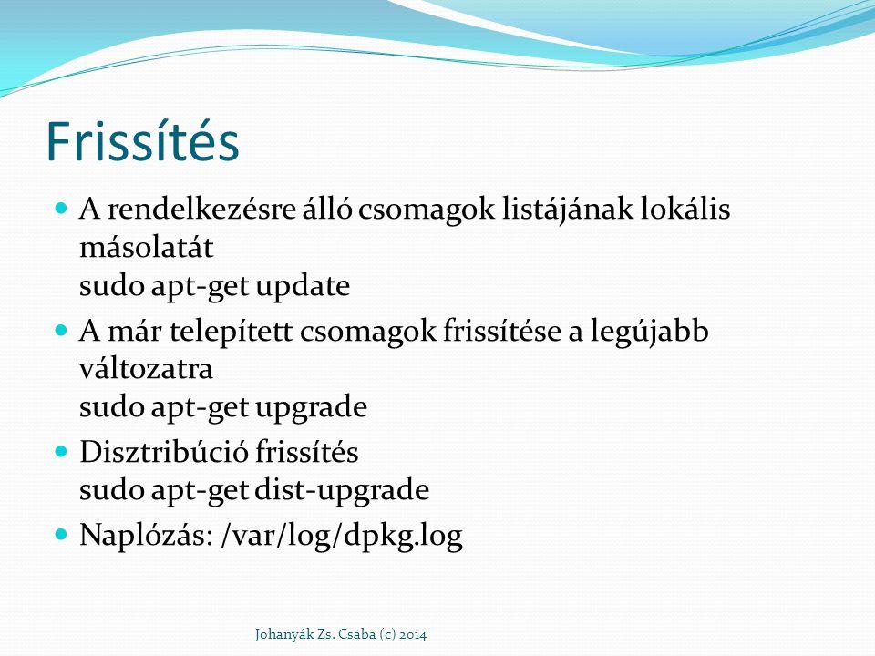 Frissítés A rendelkezésre álló csomagok listájának lokális másolatát sudo apt-get update.