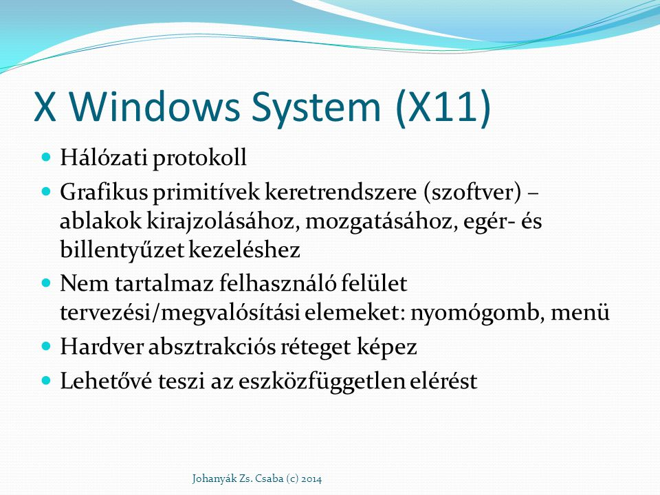 X Windows System (X11) Hálózati protokoll