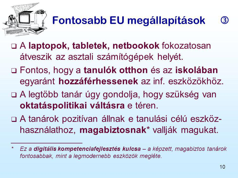Fontosabb EU megállapítások 