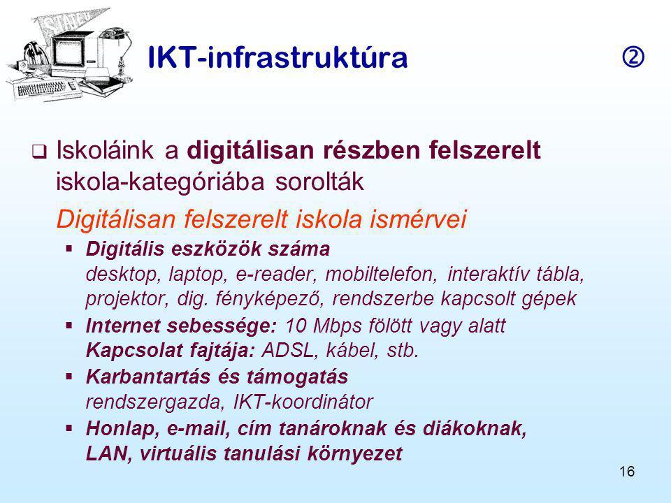 IKT-infrastruktúra  Iskoláink a digitálisan részben felszerelt iskola-kategóriába sorolták. Digitálisan felszerelt iskola ismérvei.
