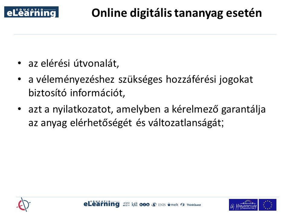 Online digitális tananyag esetén