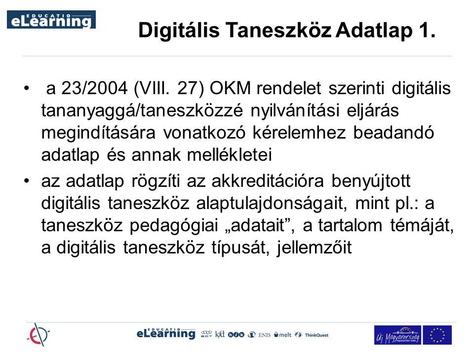 Digitális Taneszköz Adatlap 1.
