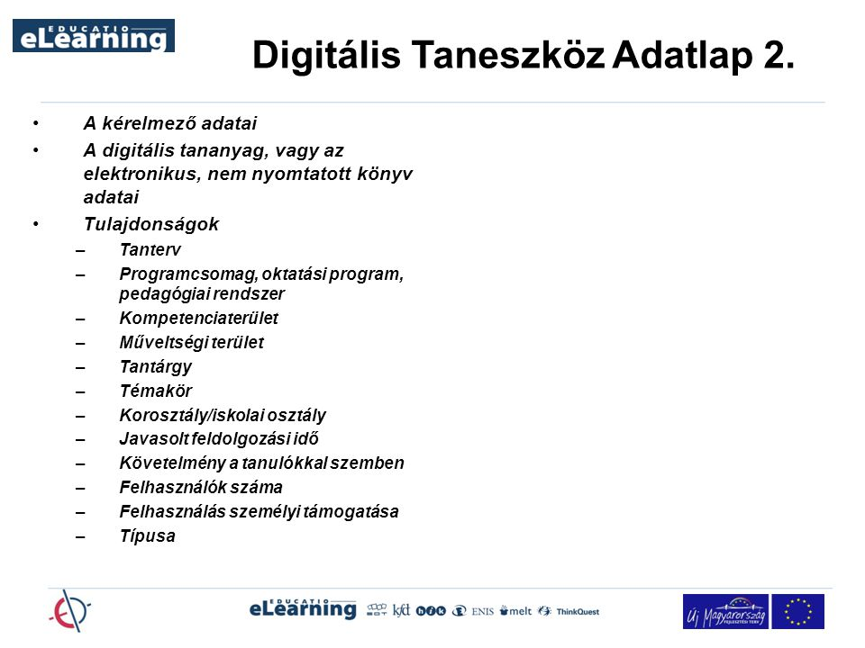 Digitális Taneszköz Adatlap 2.