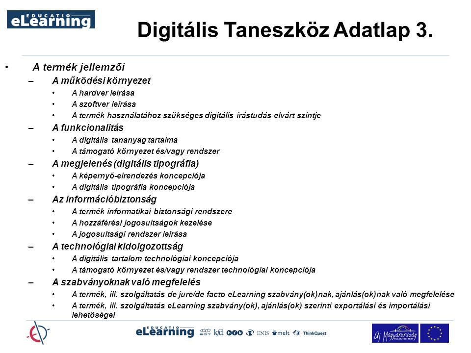 Digitális Taneszköz Adatlap 3.