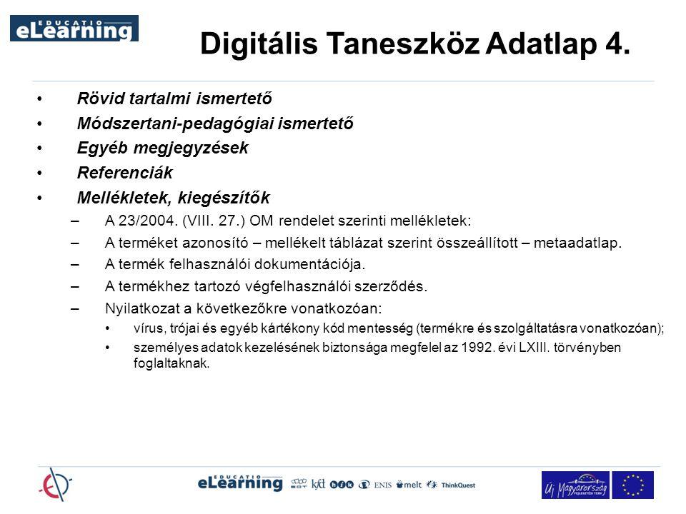 Digitális Taneszköz Adatlap 4.