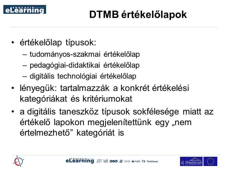 DTMB értékelőlapok értékelőlap típusok: