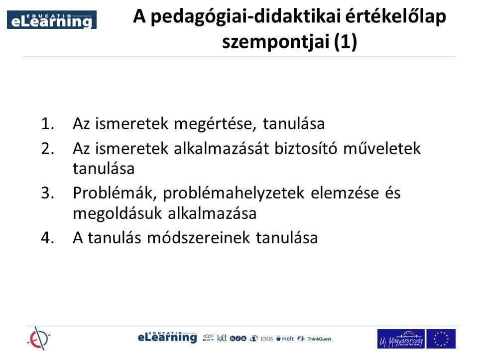 A pedagógiai-didaktikai értékelőlap szempontjai (1)