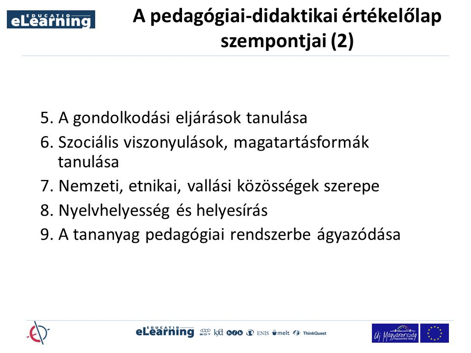 A pedagógiai-didaktikai értékelőlap szempontjai (2)