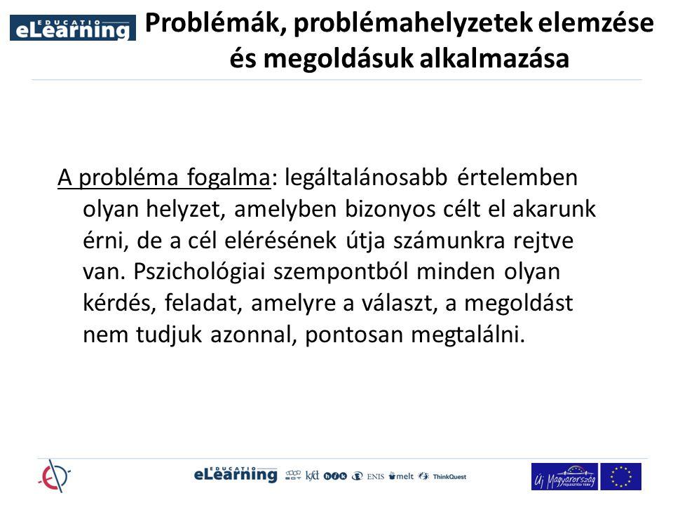 Problémák, problémahelyzetek elemzése és megoldásuk alkalmazása