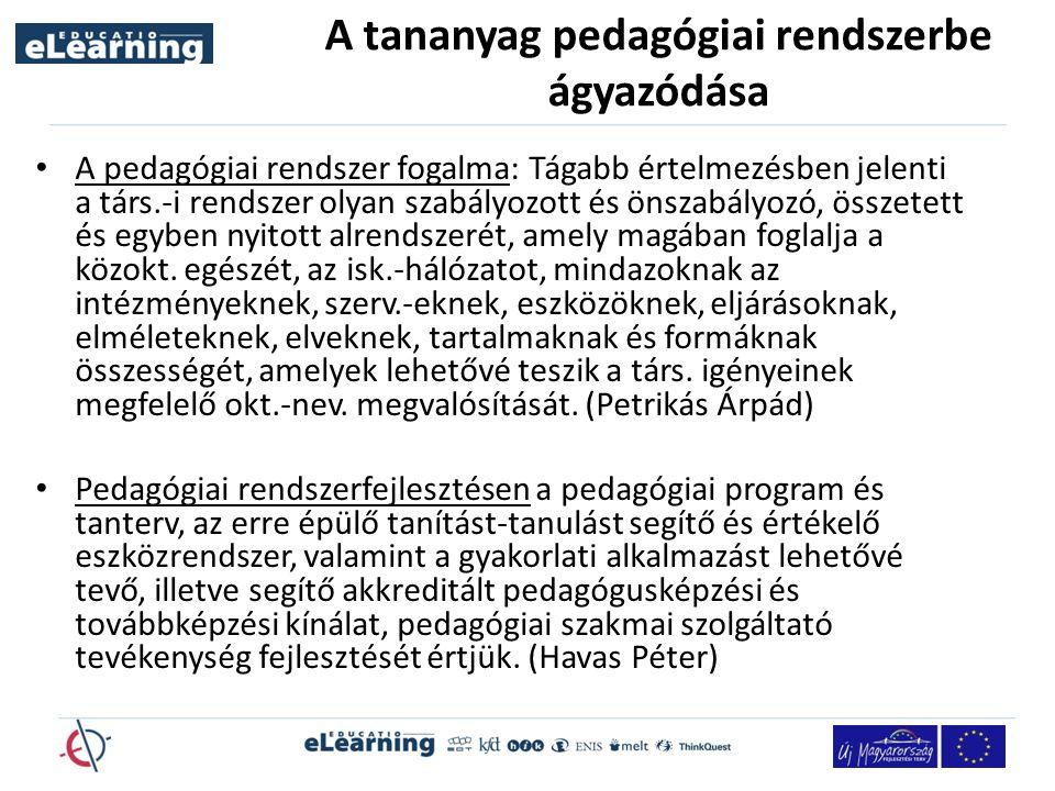 A tananyag pedagógiai rendszerbe ágyazódása