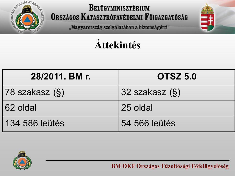 Áttekintés 28/2011. BM r. OTSZ 5.0 78 szakasz (§) 32 szakasz (§)