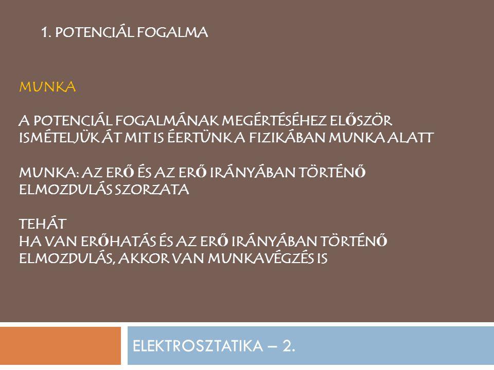 ELEKTROSZTATIKA – 2. 1. POTENCIÁL FOGALMA MUNKA