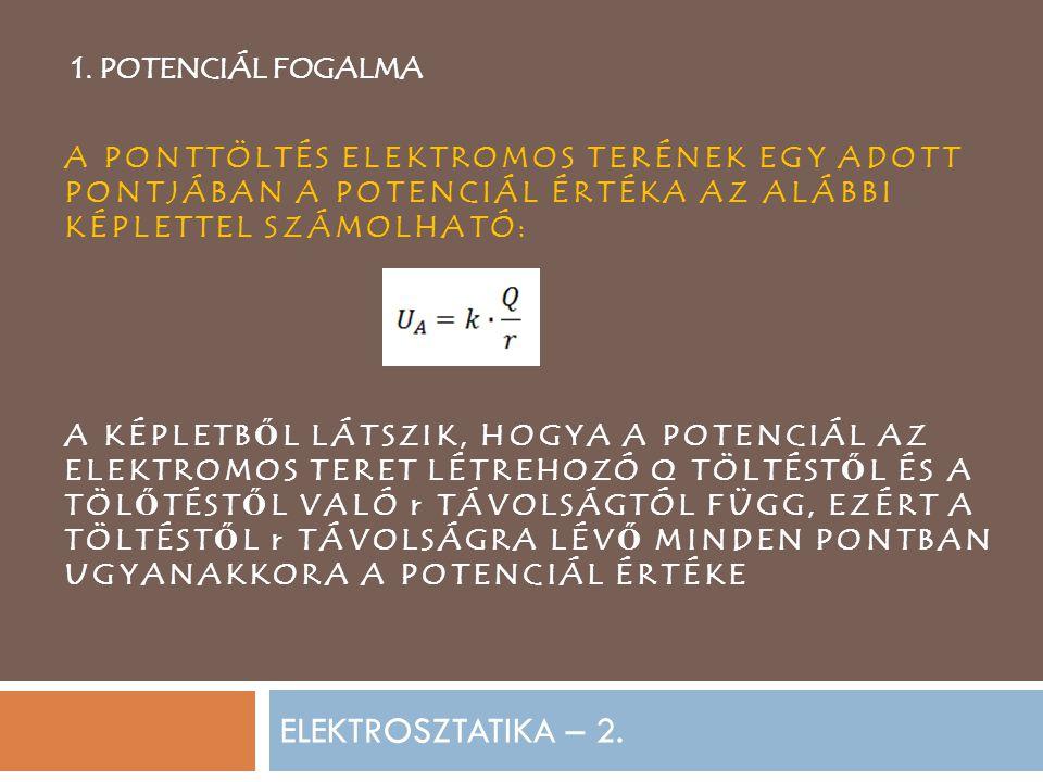 ELEKTROSZTATIKA – 2. 1. POTENCIÁL FOGALMA