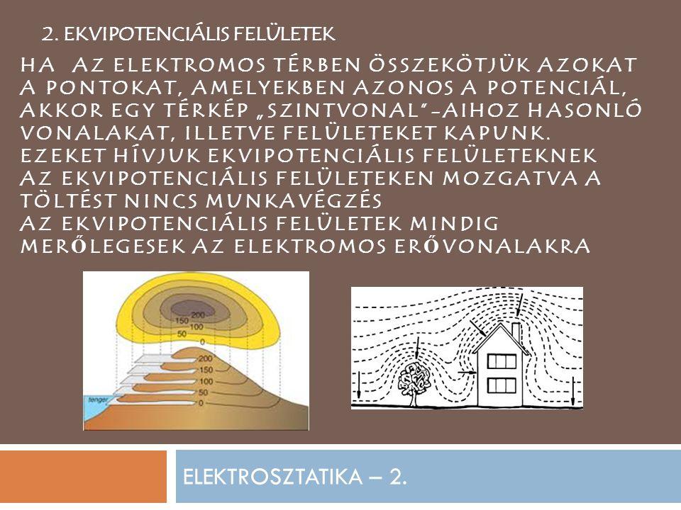ELEKTROSZTATIKA – 2. 2. EKVIPOTENCIÁLIS FELÜLETEK