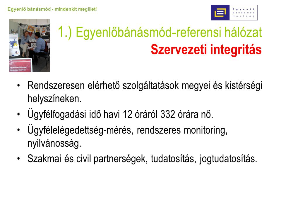 1.) Egyenlőbánásmód-referensi hálózat Szervezeti integritás