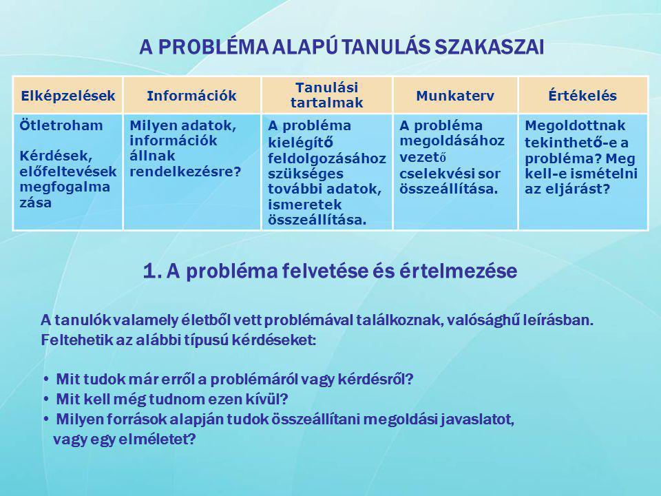 1. A probléma felvetése és értelmezése