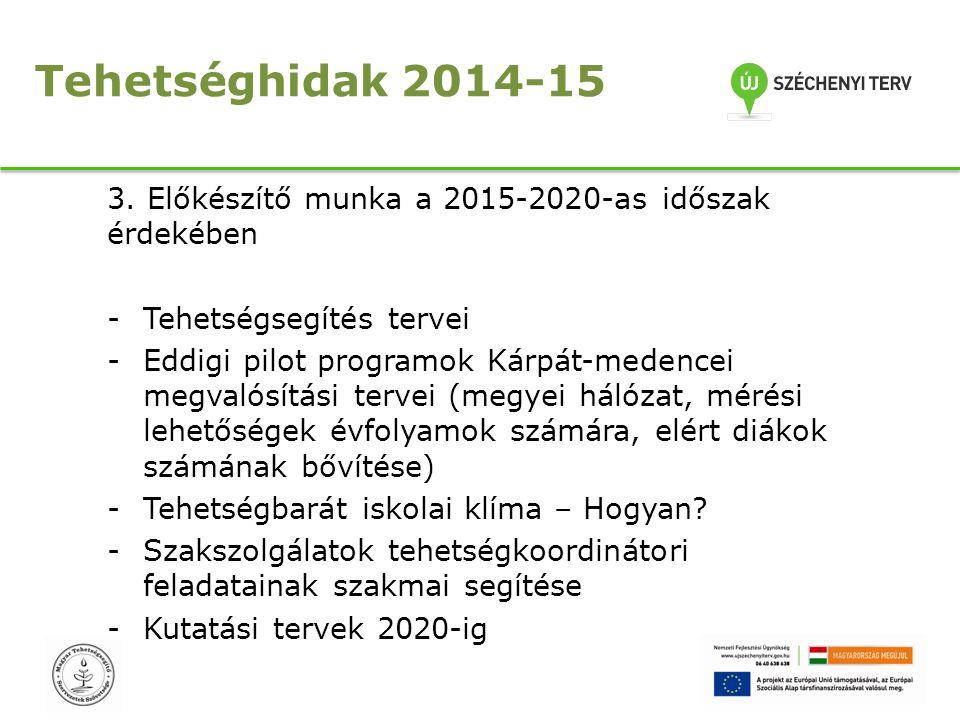 Tehetséghidak 2014-15 3. Előkészítő munka a 2015-2020-as időszak érdekében. Tehetségsegítés tervei.