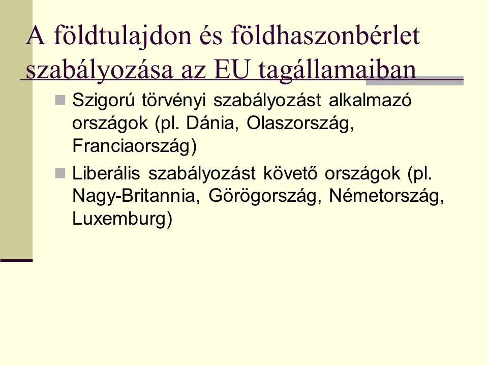 A földtulajdon és földhaszonbérlet szabályozása az EU tagállamaiban
