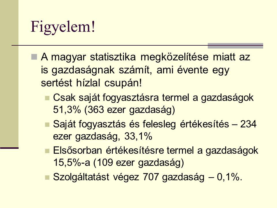 Figyelem! A magyar statisztika megközelítése miatt az is gazdaságnak számít, ami évente egy sertést hízlal csupán!