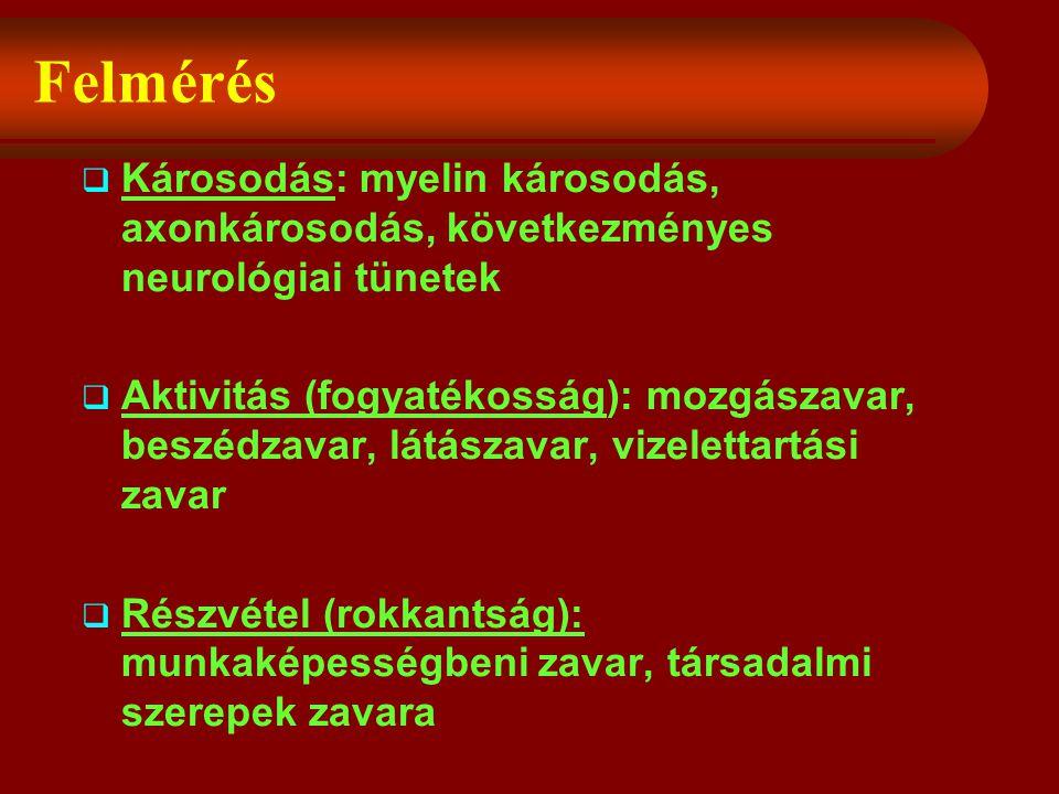 Felmérés Károsodás: myelin károsodás, axonkárosodás, következményes neurológiai tünetek.