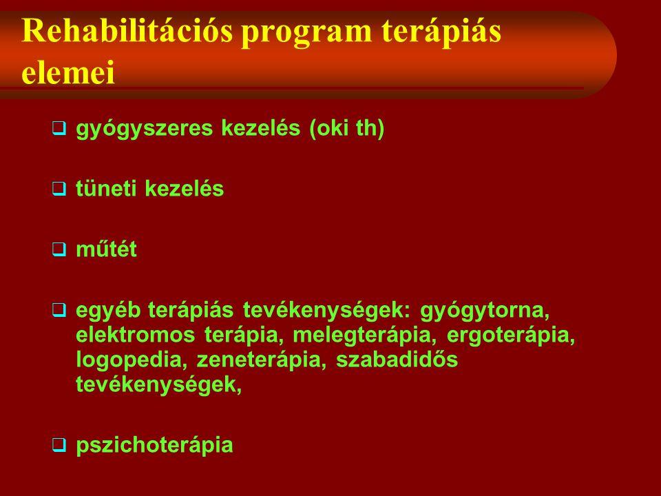 Rehabilitációs program terápiás elemei