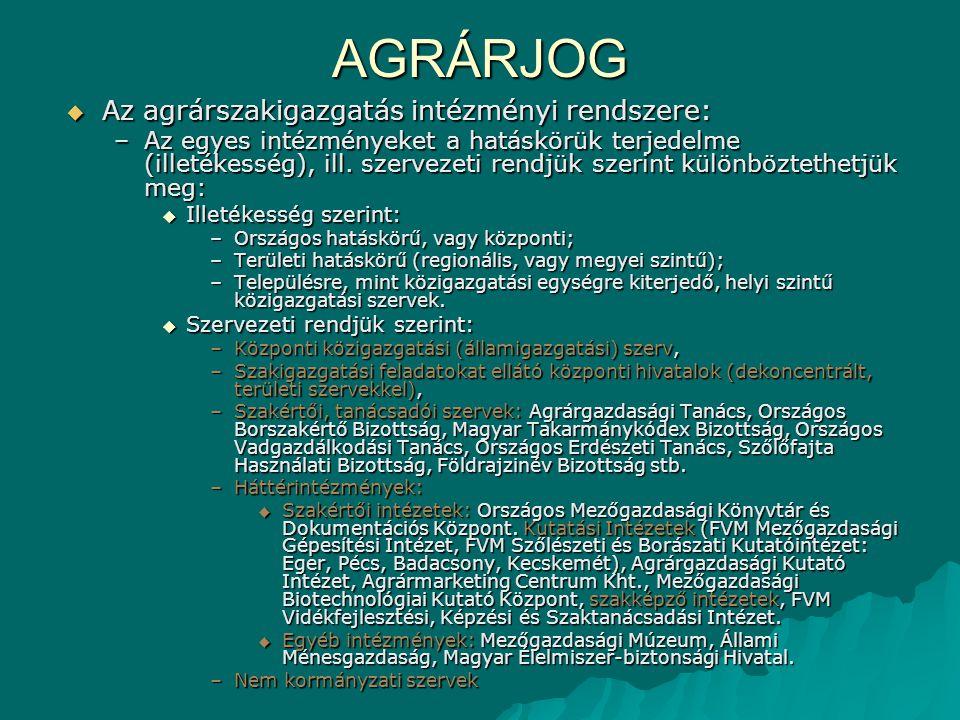 AGRÁRJOG Az agrárszakigazgatás intézményi rendszere: