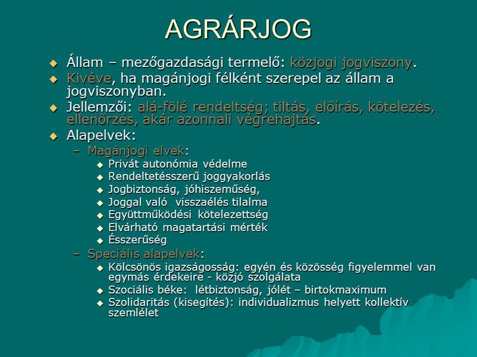 AGRÁRJOG Állam – mezőgazdasági termelő: közjogi jogviszony.