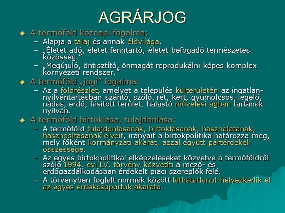 """AGRÁRJOG A termőföld köznapi fogalma: A termőföld """"jogi fogalma:"""