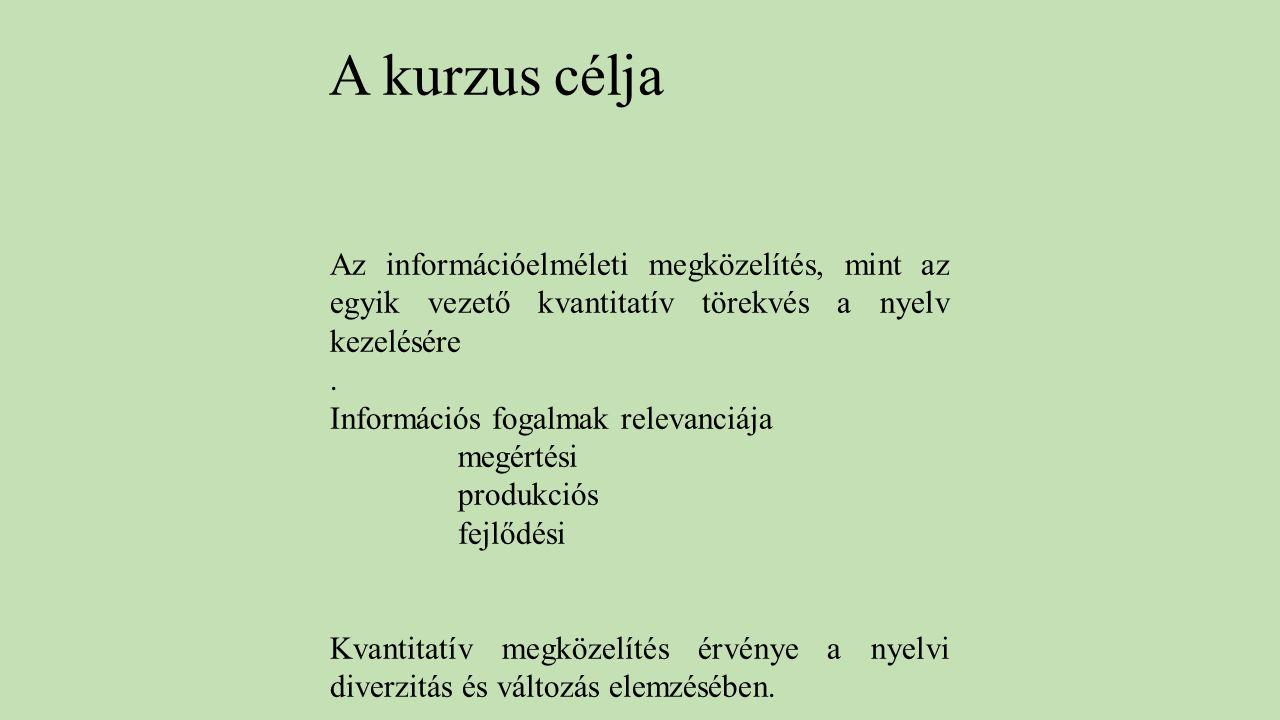 A kurzus célja Az információelméleti megközelítés, mint az egyik vezető kvantitatív törekvés a nyelv kezelésére.