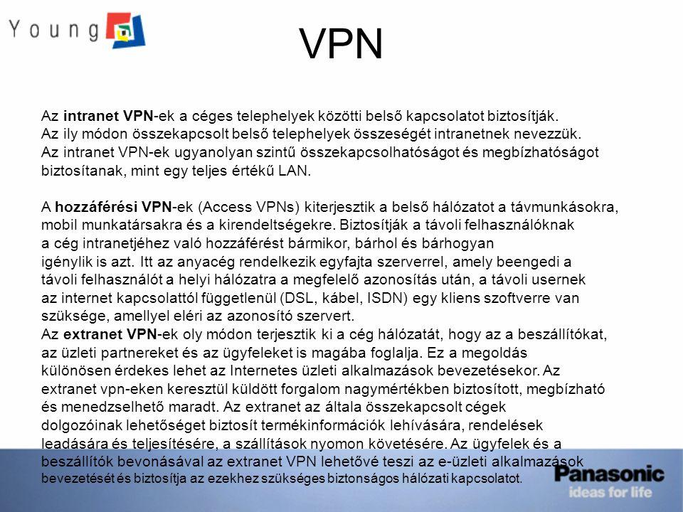 VPN Az intranet VPN-ek a céges telephelyek közötti belső kapcsolatot biztosítják.