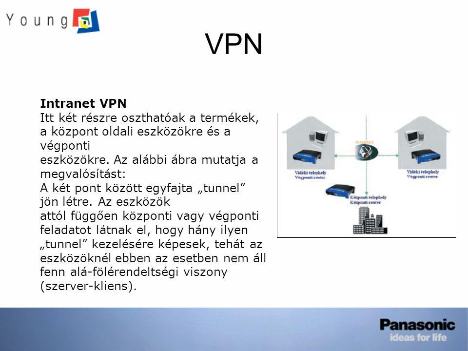 VPN Intranet VPN. Itt két részre oszthatóak a termékek, a központ oldali eszközökre és a végponti.