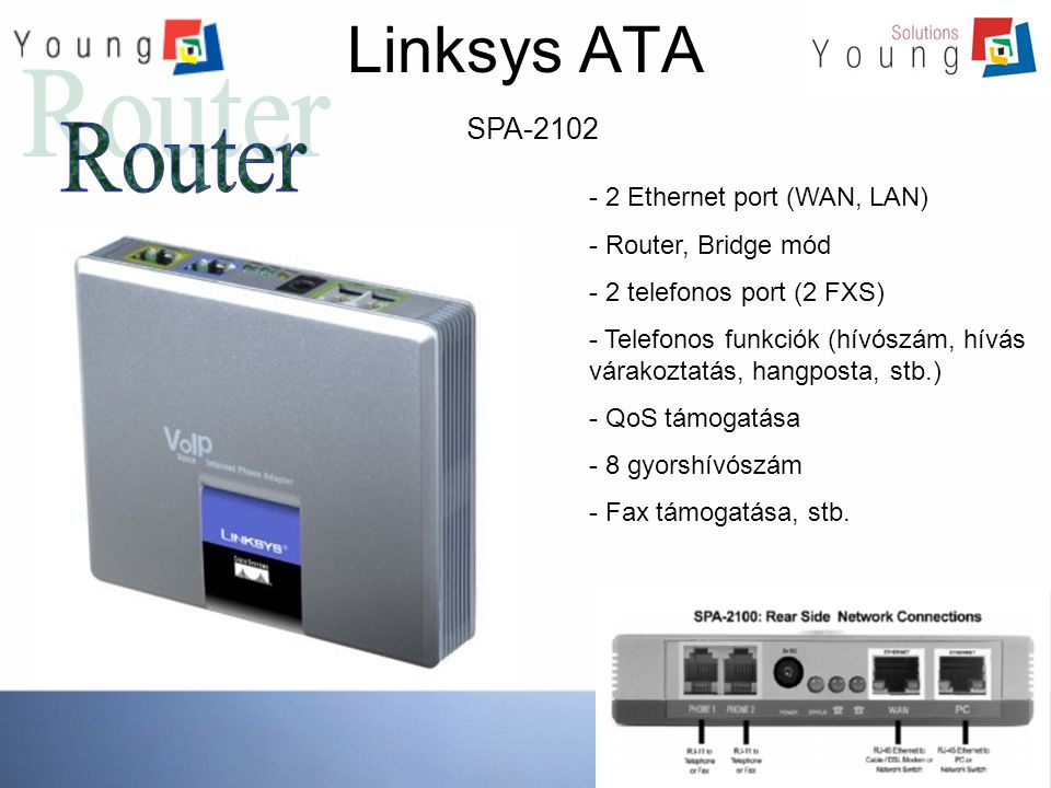 Linksys ATA Router SPA-2102 2 Ethernet port (WAN, LAN)