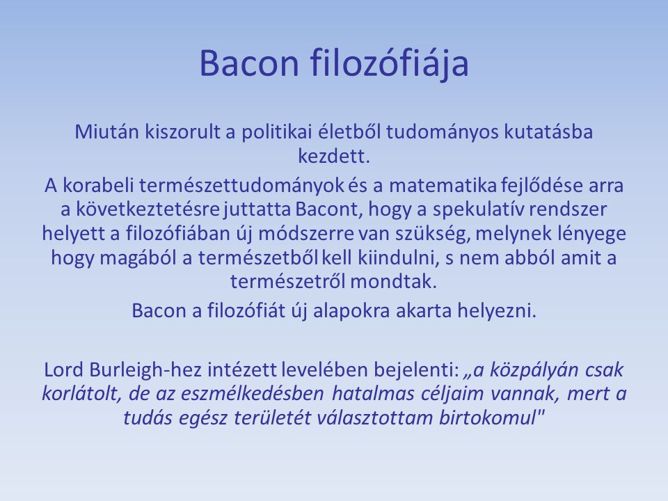 Bacon filozófiája