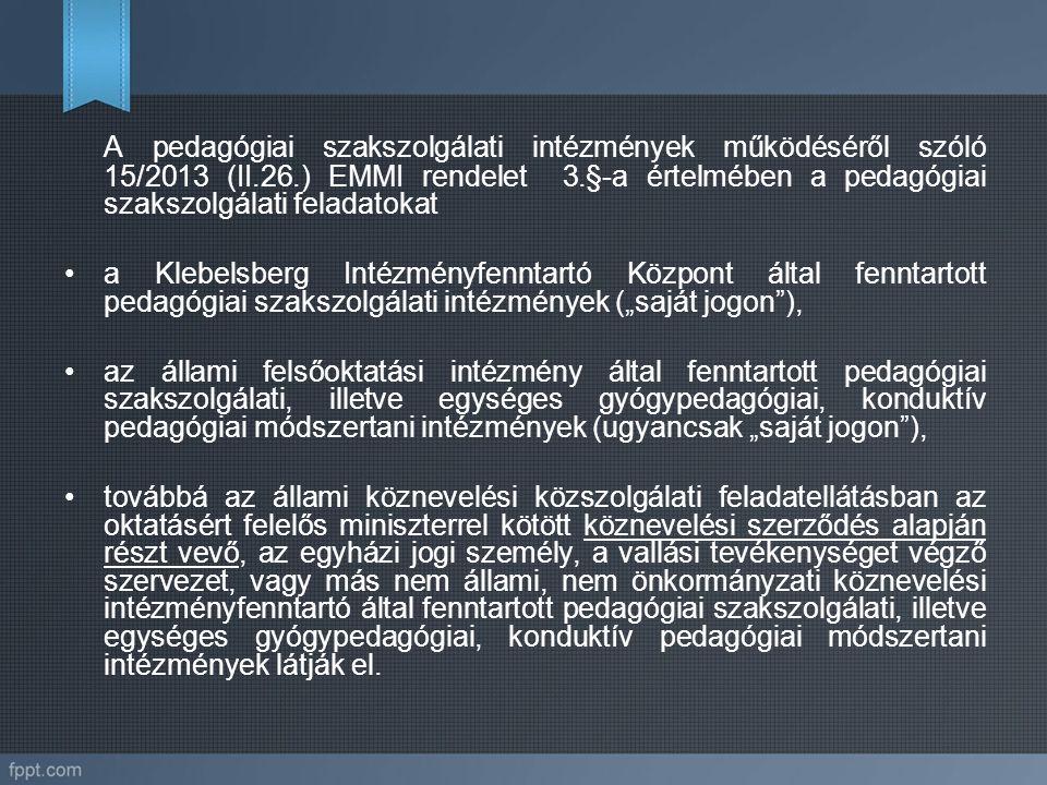 A pedagógiai szakszolgálati intézmények működéséről szóló 15/2013 (II