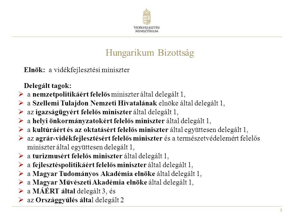 Hungarikum Bizottság Elnök: a vidékfejlesztési miniszter