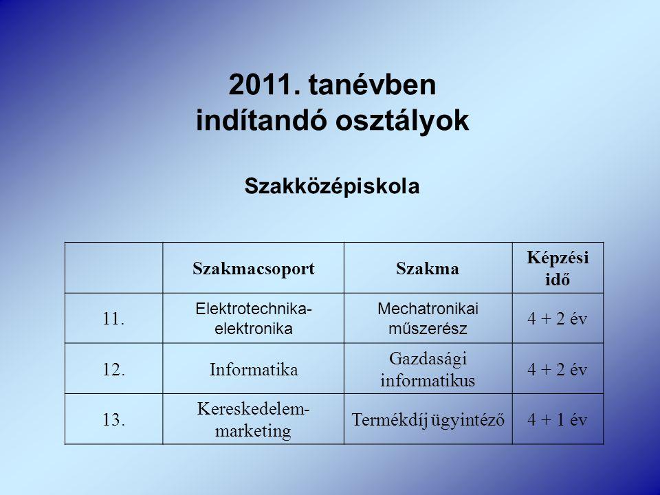 2011. tanévben indítandó osztályok